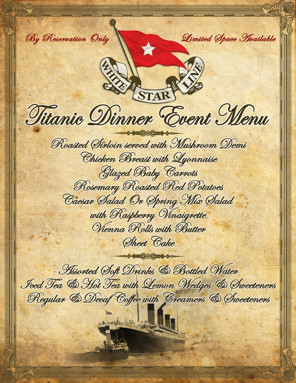 Dessert Menu From Titanic Bing Images
